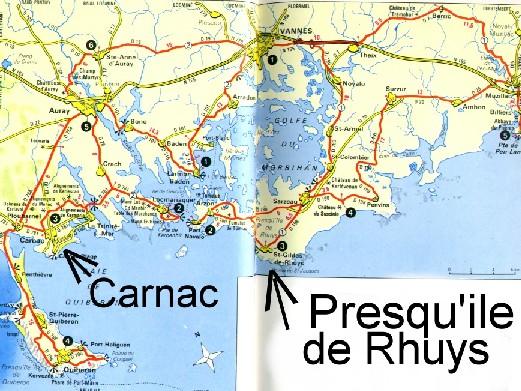 presqu île de rhuys carte Urlaub In France   Cartes géographiques